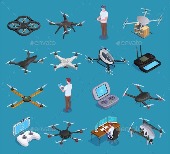 Drones Quadrocopters Isometric Set - Sports/Activity Conceptual
