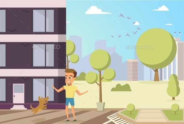 Vector Illustration Cartoon Little Dog and Boy - People Characters