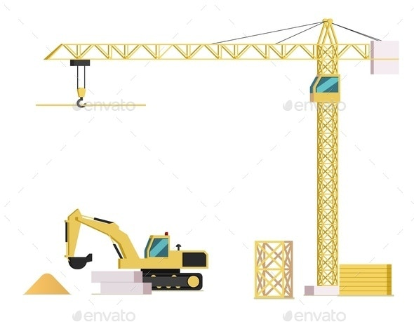 Vector Concept Modern City Construction Building - Business Conceptual