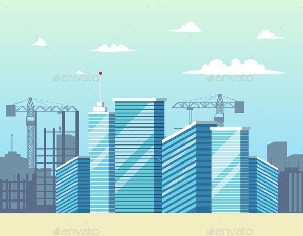 Vector Concept Modern City Construction Buildings - Buildings Objects