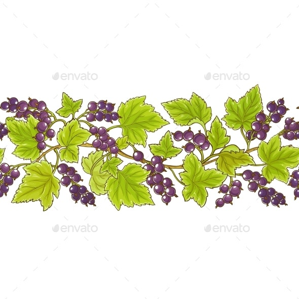 Black Currant Vector Pattern - Food Objects