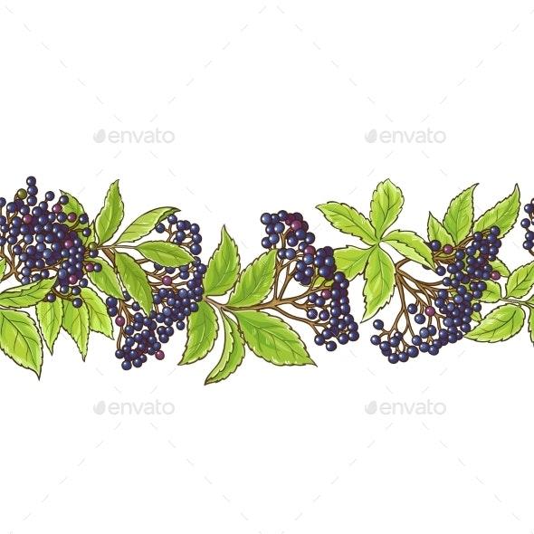 Elderberry Branch Vector Pattern - Food Objects