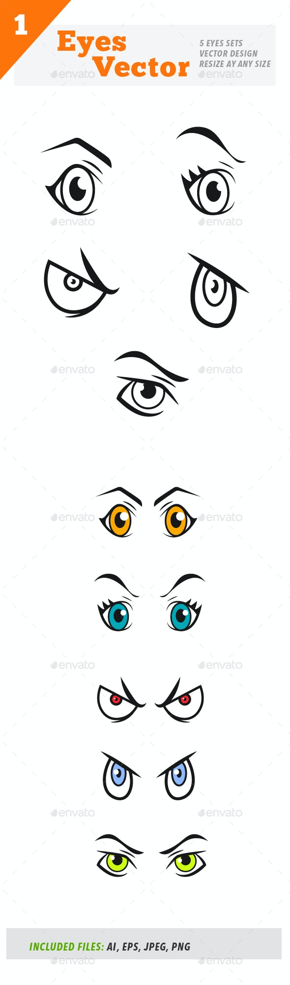 Eyes Set Vector - Miscellaneous Characters