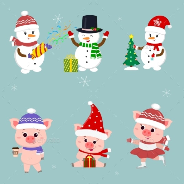 New Year and Christmas Card. A Set of Three - Animals Characters