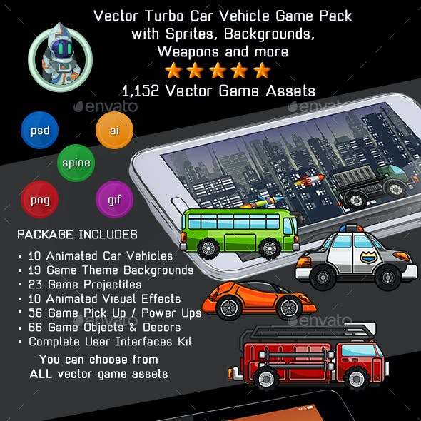 Complete Car Vector Game Kit - Sprites, Backgrounds, Tileset and GUI