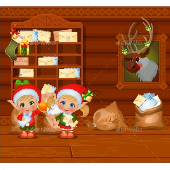 Inside the Old Cozy Wooden Village House. Home - Holiday Greeting Cards
