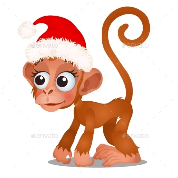Cute Monkey in a Red Cap of Santa Claus Isolated - Holiday Greeting Cards