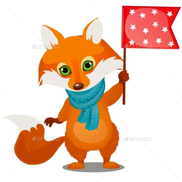 Cute Animated Fox in Winter Knitted Scarf Holding