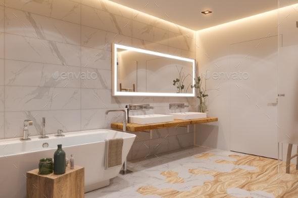 Interior Design of a Bathroom, 3d Illustration in - Architecture 3D Renders