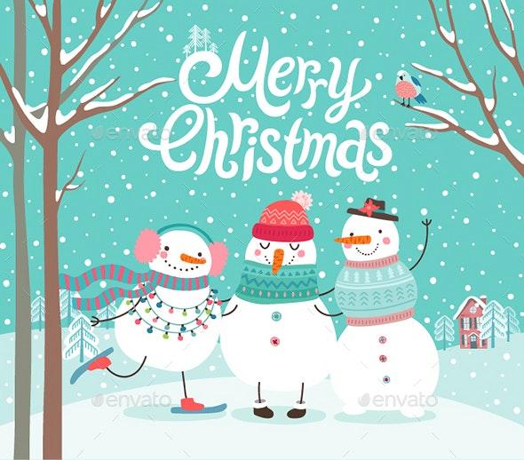 Snowmen Hugging - Christmas Seasons/Holidays