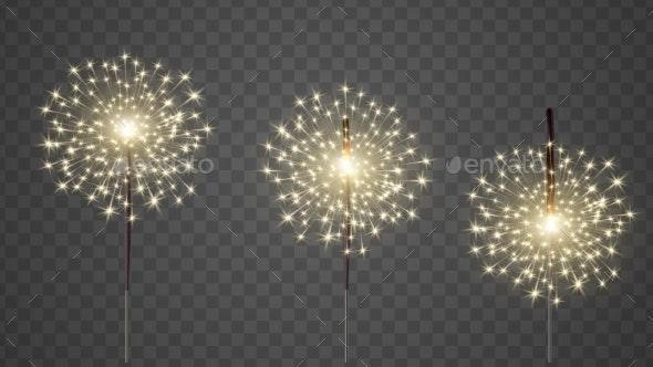 Glittering Burning Bengal Light Realistic Vector - Christmas Seasons/Holidays
