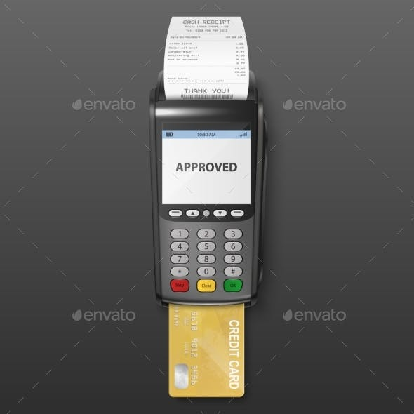 Vector Realistic Black Payment Machine POS