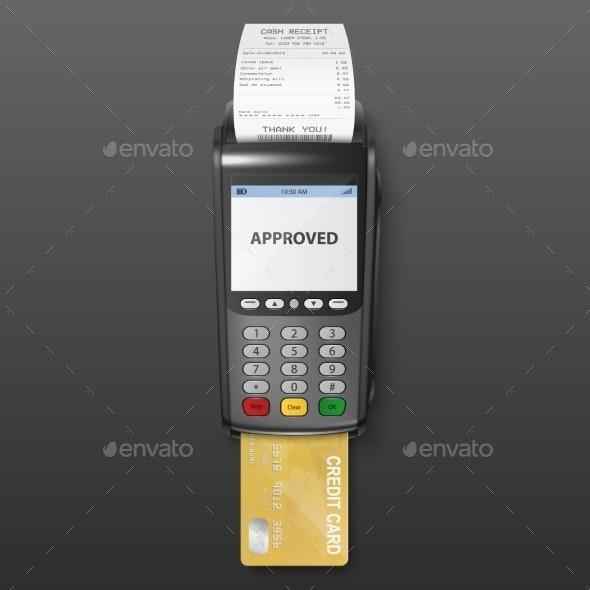 Vector Realistic Black Payment Machine POS - Concepts Business