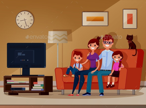 Family Watching TV - People Characters