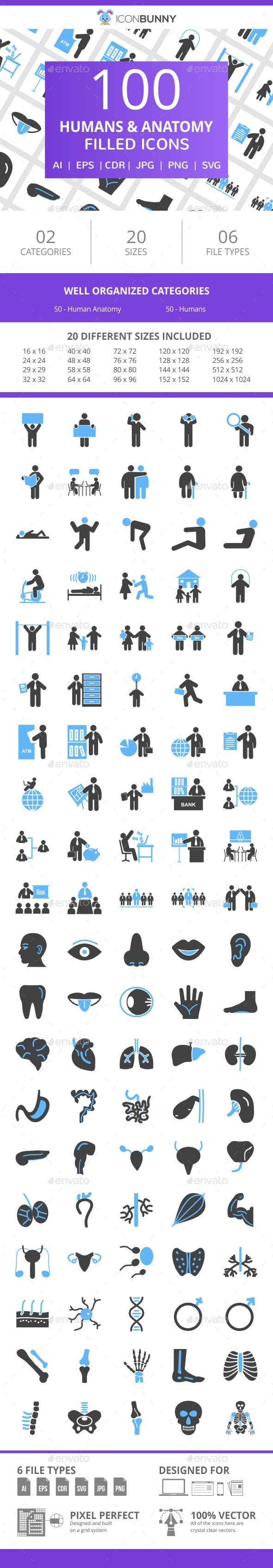 100 Humans & Anatomy Filled Blue & Black Icons - Icons