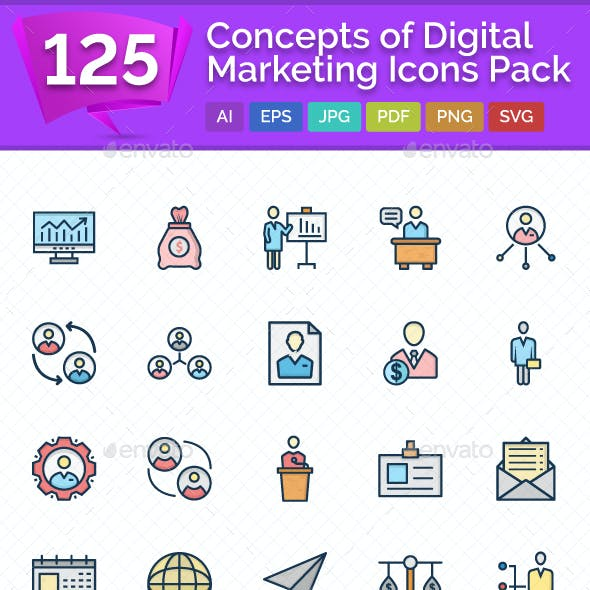 125 Digital Marketing Isolated Vector Icons