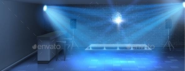 Vector Interior Background with Empty Dance Floor - Backgrounds Decorative