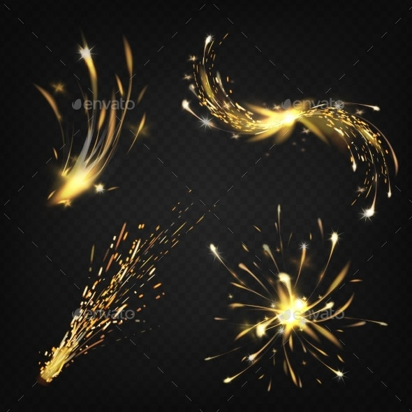 Vector Realistic Fireworks, Sparks From Welding - Abstract Conceptual