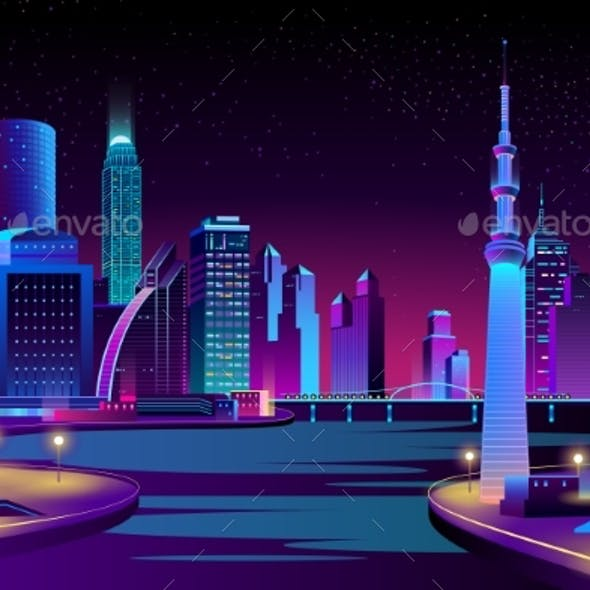 Vector City, Megapolis on River at Night.