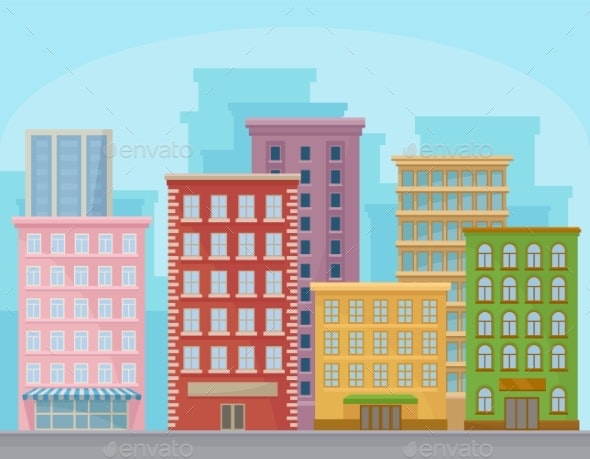 Cityscape with Modern Buildings, Urban Panorama - Buildings Objects