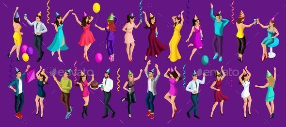 Isometric is a New Year's Party - People Characters