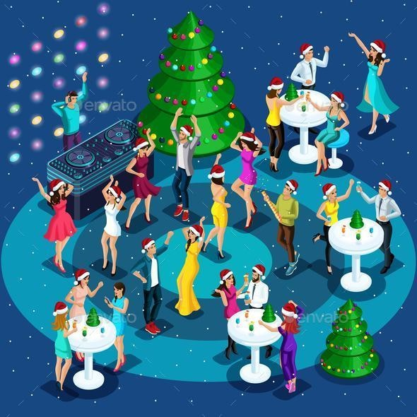Isometric is a New Year's Party - Christmas Seasons/Holidays