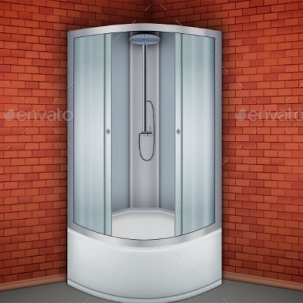 Shower Cabine and Red Brick Wall Bathroom