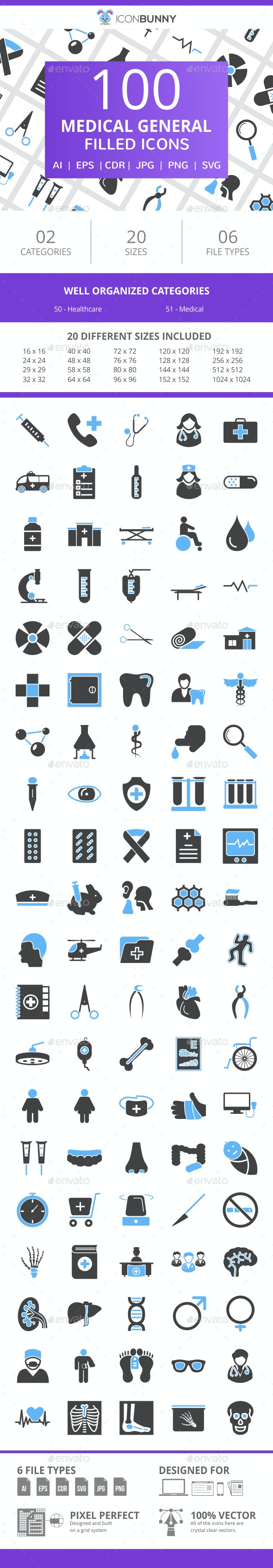101 Medical General Filled Blue & Black Icons - Icons