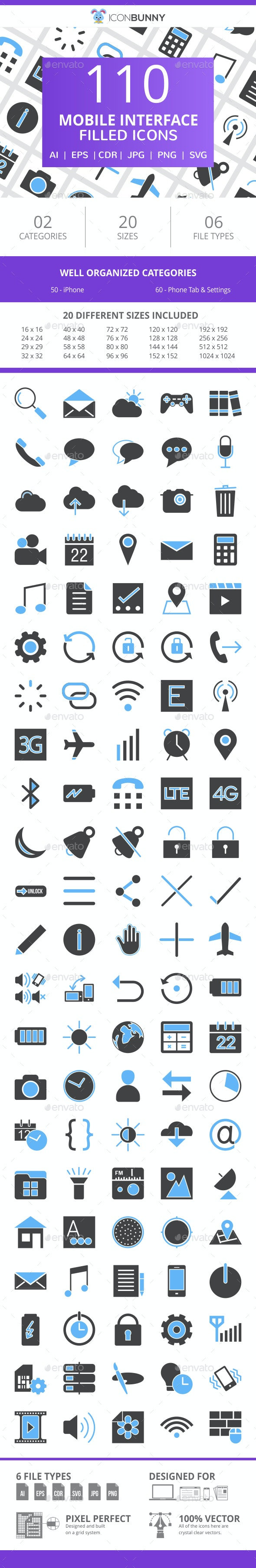 110 Mobile Interface Filled Blue & Black Icons - Icons