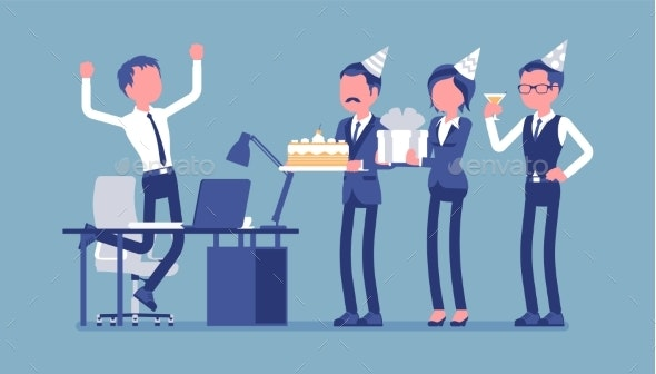 Birthday Party in the Office - Business Conceptual