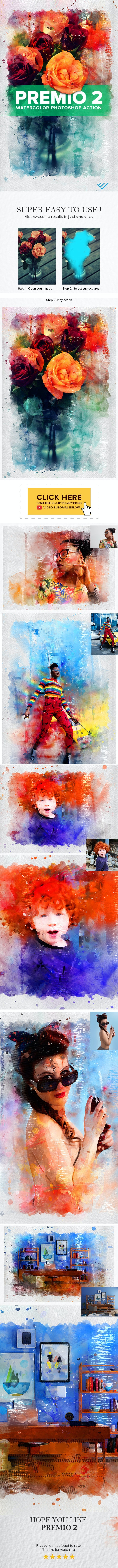 Premio 2 Watercolor Photoshop Action - Actions Photoshop
