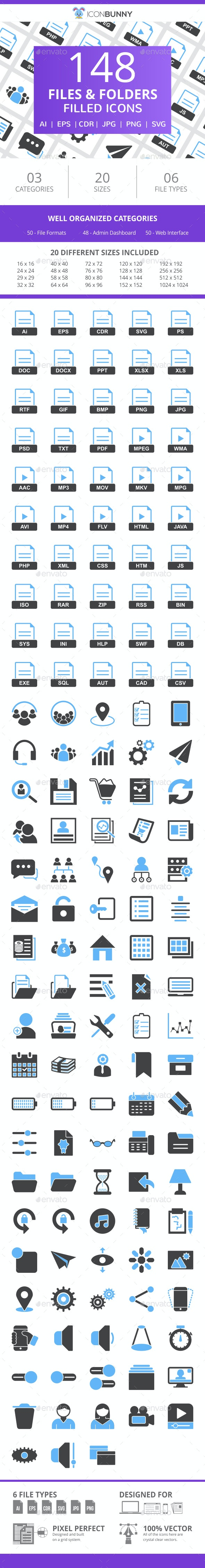 148 Files & Folders Filled Line Icons - Icons