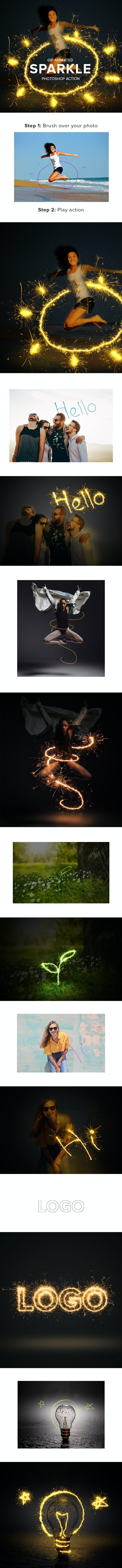 Gif Animated Sparkler Photoshop Action - Actions Photoshop