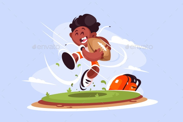 Little Boy Playing Rugby Outside - Sports/Activity Conceptual