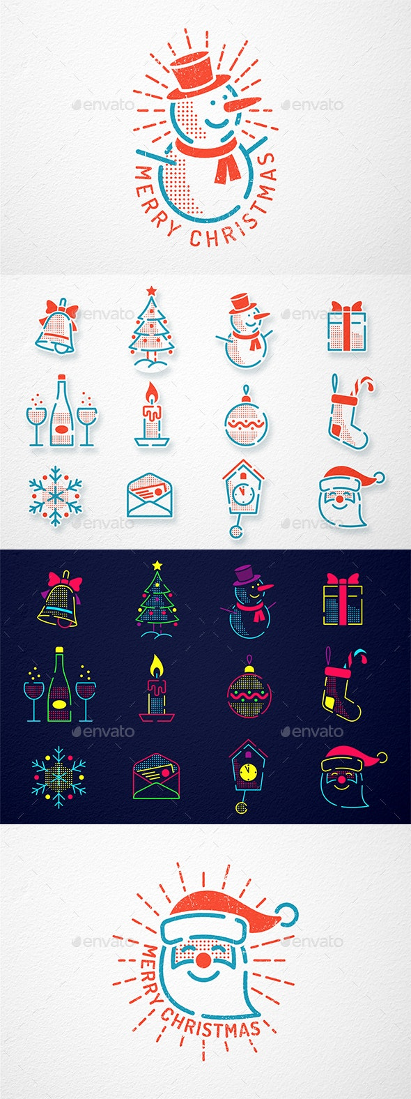 Christmas New Year Icons Set - Christmas Seasons/Holidays