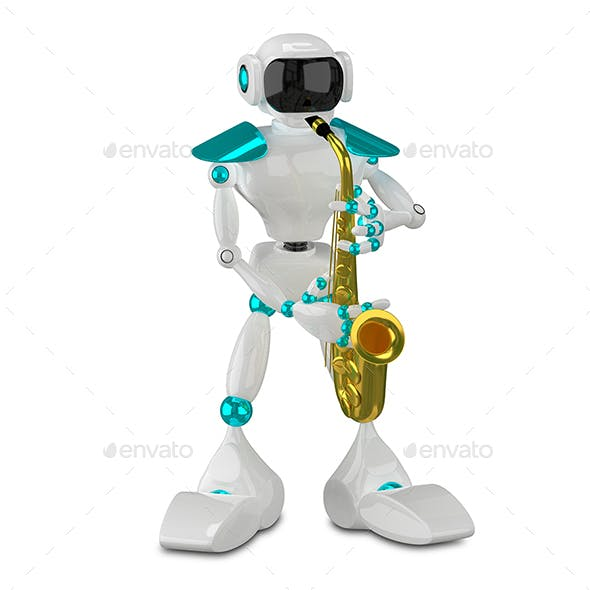 3D Illustration White Robot with Sax