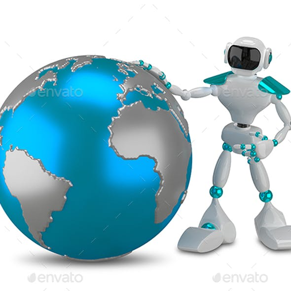 3D Illustration White Robot with Globe