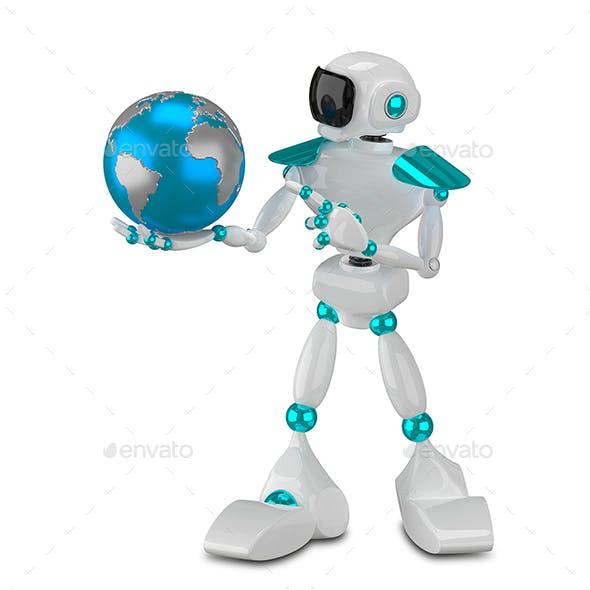 3D Illustration White Robot and Globe