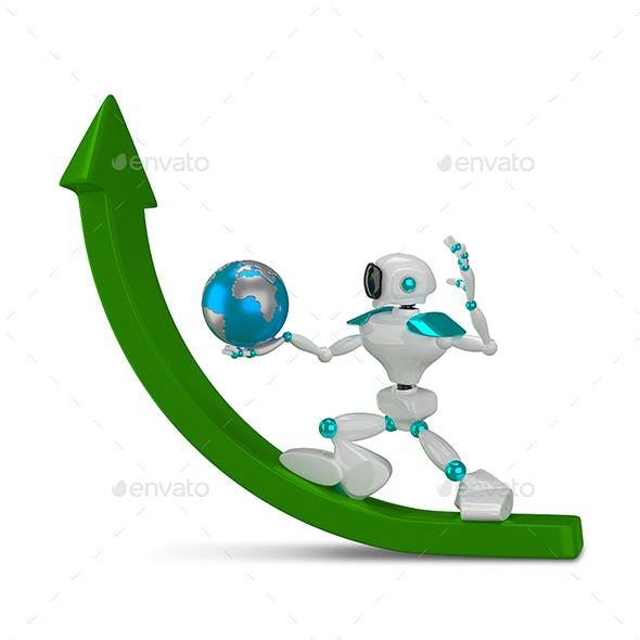 3D Illustration White Robot with Globe on Green Arrow