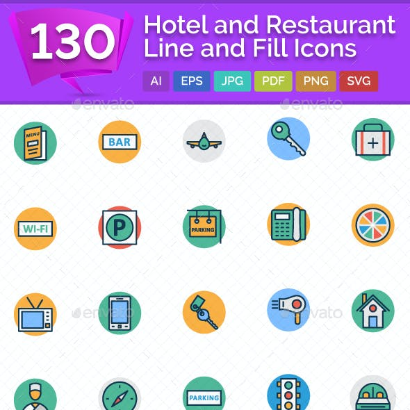 130 Hotel and Restaurant Line and Fill Vector icon Pack
