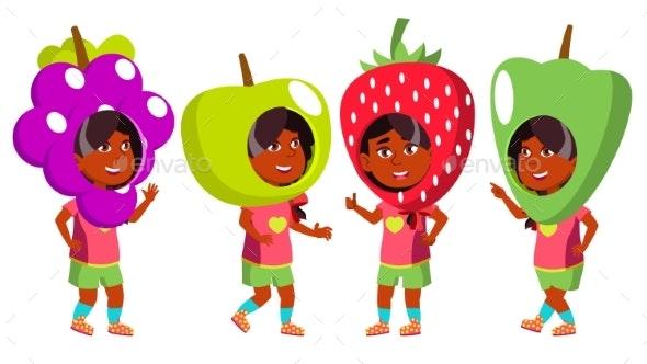 Girl Kindergarten Kid Poses Set Vector. Indian - People Characters