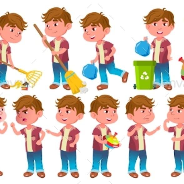 Boy Kindergarten Kid Poses Set Vector. Little