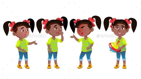 Girl Kindergarten Kid Emotions Set Vector. Black - People Characters