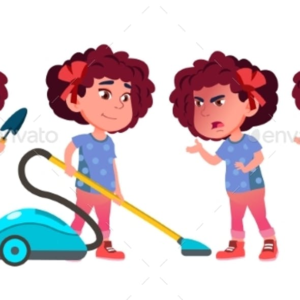 Girl Kindergarten Kid Poses Set Vector. Playful