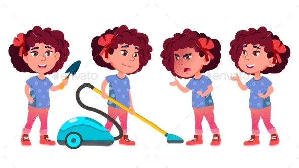 Girl Kindergarten Kid Poses Set Vector. Playful - People Characters