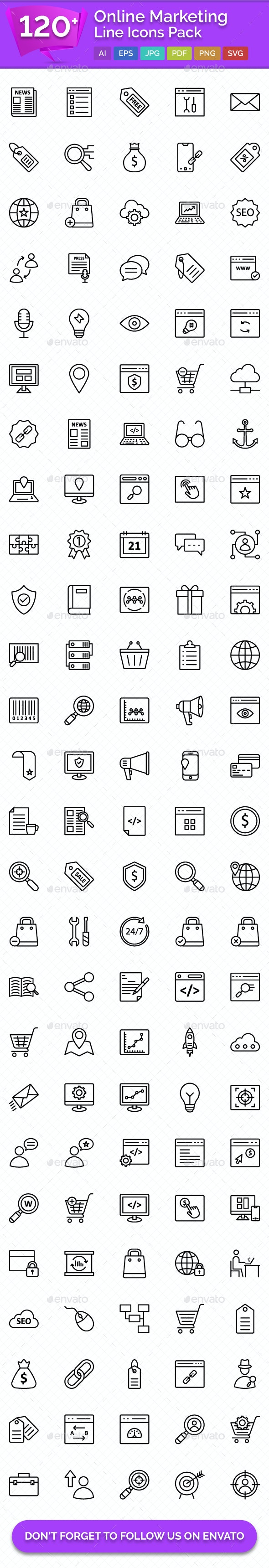 120+ Online Marketing Line Icons - Icons