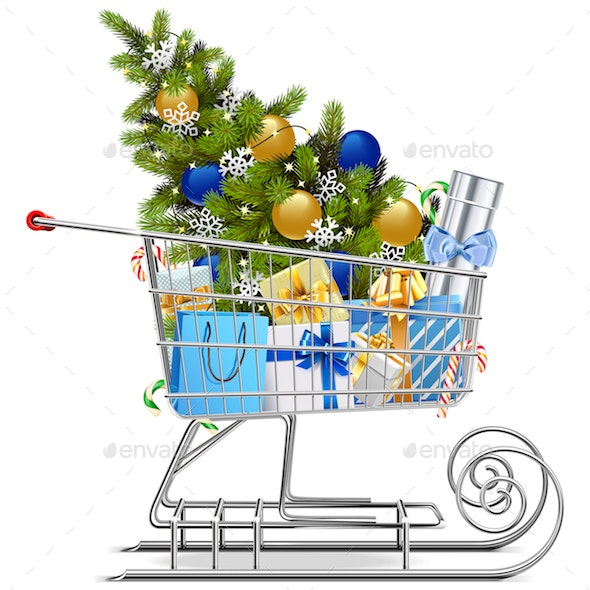 Vector Shopping Sled with Christmas Decorations - Christmas Seasons/Holidays