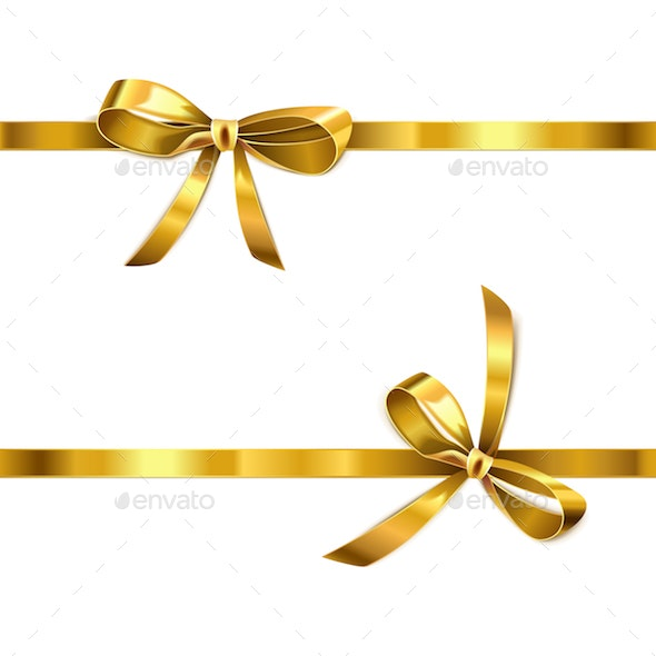 Vector Golden Bow with Ribbon - Decorative Symbols Decorative