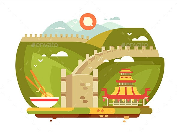 Great Wall of China Landscape for Travel Design - Buildings Objects
