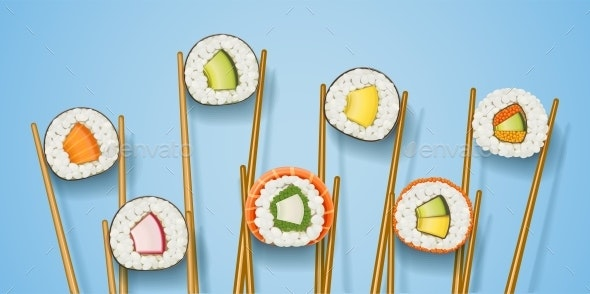 Sushi Rolls with Various Ingredient - Food Objects
